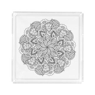 Round Doodle Acrylic Tray