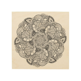 Round Doodle Design 5 Wood Wall Art