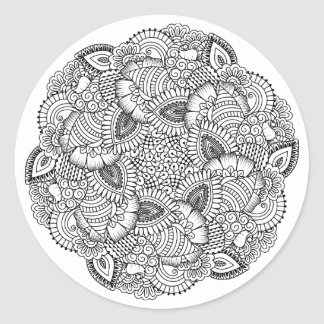 Round Doodle Design Classic Round Sticker