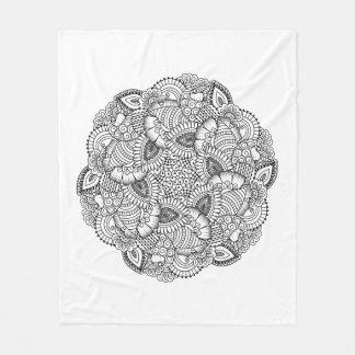 Round Doodle Design Fleece Blanket