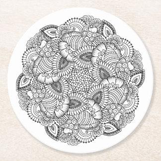 Round Doodle Design Round Paper Coaster