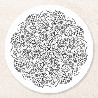 Round Doodle Round Paper Coaster
