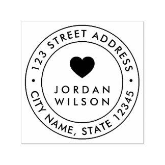 Round Double Border Modern Heart Return Address Self-inking Stamp