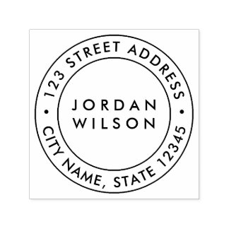 Round Double Border Modern Return Address Self-inking Stamp