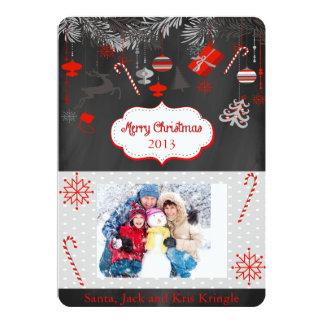 Round Edges Chalkboard Christmas Flat Card 13 Cm X 18 Cm Invitation Card