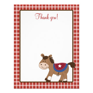 Round 'Em Up Western Horse 4x5 Flat Thank you note Announcement