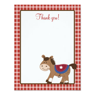 Round 'Em Up Western Horse 4x5 Flat Thank you note 11 Cm X 14 Cm Invitation Card