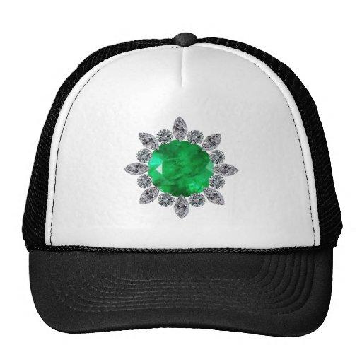 Round Emerald Brooch Mesh Hats