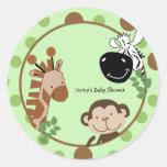 Round Favour Stickers - Jungle Adventure Animals