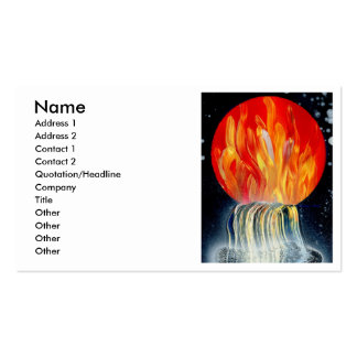 Round Flame Planet Waterfall Spray Painting Pack Of Standard Business Cards