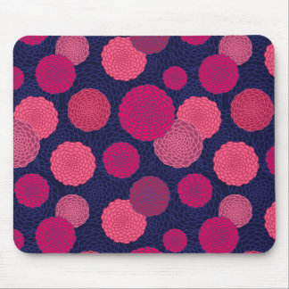 Round flowers pattern mouse pad