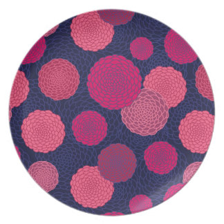 Round flowers pattern party plates