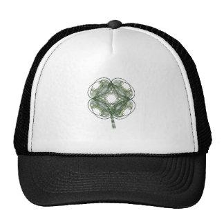 Round Four Leaf Clover Fractal Art Trucker Hats