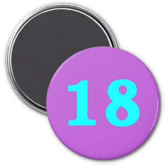 Round Fridge Magnet – Number 18 – Turquoise/Violet