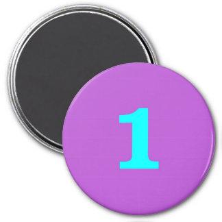 Round Fridge Magnet – Number 1 – Turquoise/Violet