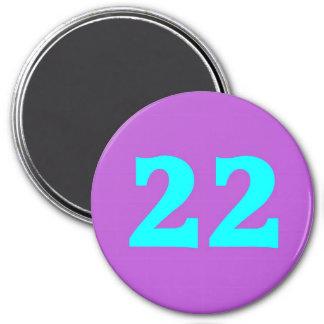 Round Fridge Magnet – Number 22 – Turquoise/Violet