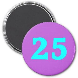 Round Fridge Magnet – Number 25 – Turquoise/Violet