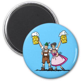 Round Fridge Magnet Oktoberfest Beer Couple