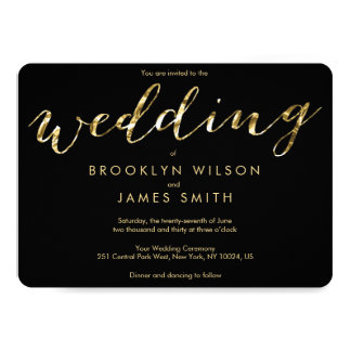 Round Gold Foil And Black Wedding Invitations