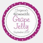 Round Grape jelly / jam purple jar food label Round Sticker