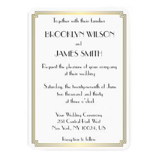 Round Great Gatsby Art Deco White Wedding Invites