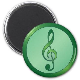 Round Green Treble Clef Fridge Magnet