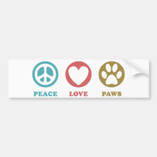 Round Icons Peace Love Paws Bumper Sticker