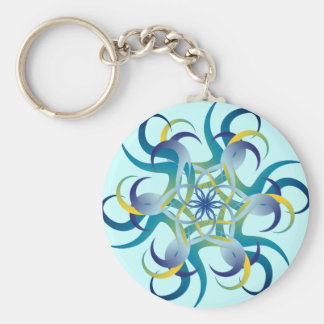 Round in a Blue Circle Key Ring