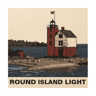 ROUND ISLAND LIGHT WOOD PRINT