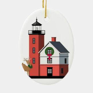 """Round Island Lighthouse Christmas Ornament"" Ceramic Oval Decoration"