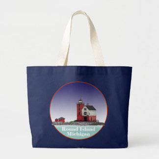 Round Island Lighthouse Large Tote Bag