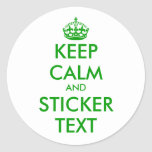 Round Keep Calm Stickers in green | personalizable