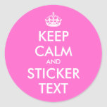 Round Keep Calm Stickers | Personalizable pink