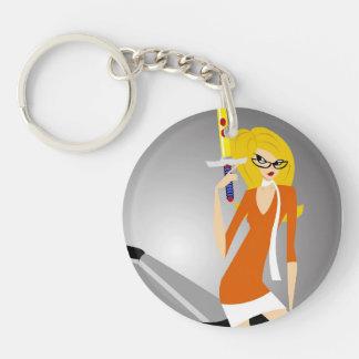 round key chain acrylic keychain