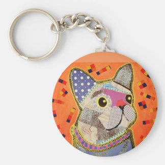 Round Key Chain with Cute Puppy Dog