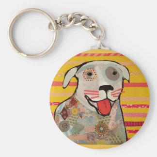 Round Key Chain with Happy Dog