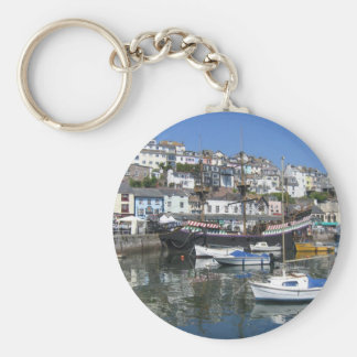 Round Key Ring With Brixham Harbour Picture Basic Round Button Key Ring