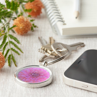 """ROUND KEYCHAIN, """"PINK DAHLIA"""" (CLOSE-UP SHOT) Silver-Colored ROUND KEY RING"""