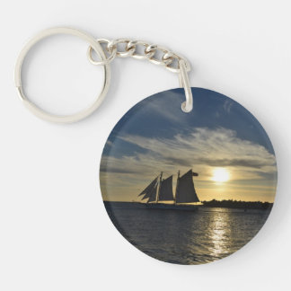 Round Keychain with Photo of Sailboat