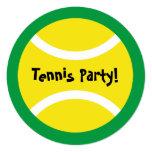 Round kids tennis theme Birthday party invitations