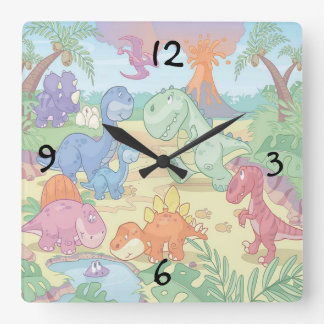 Round (Large) Wall Clock/Cartoon Dinosaurs Wall Clock