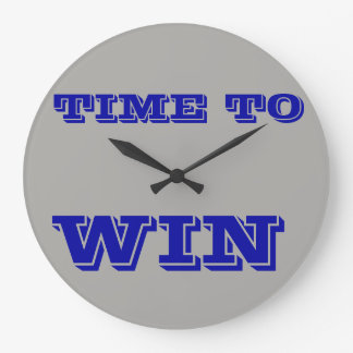 Round Large Wall Clock - Time To Win Motivational