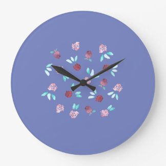 Round large wall clock with clover flowers
