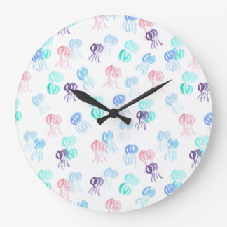 Round large wall clock with jellyfishes