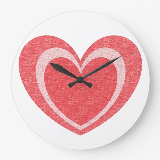 Round (large) wall clock with red heart