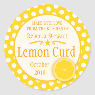 Round lemon curd baking label stickers