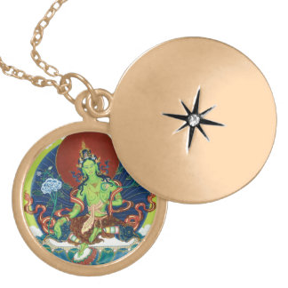 Round Locket Necklace - Green Tara - Gold Finish