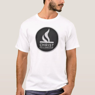 Round logo on white, volunteer shirt