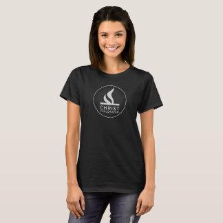 Round logo on women's dark shirt