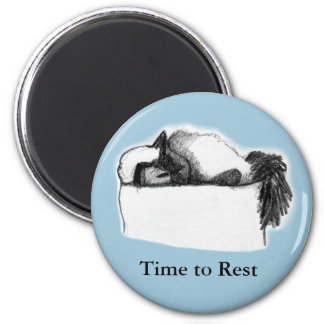 Round Magnet—Cat Time to Rest, Blue 6 Cm Round Magnet